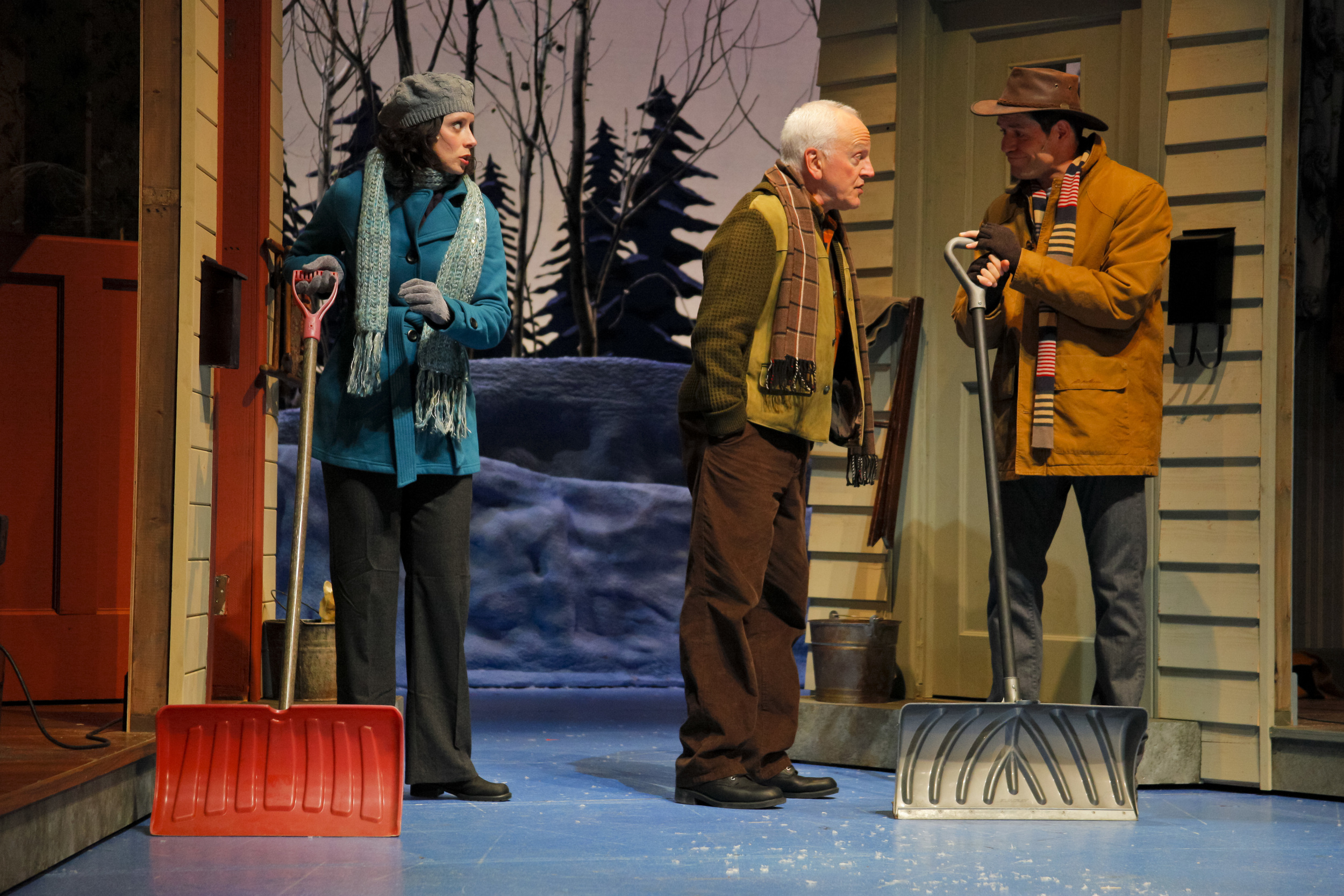 "Melanie Norton, John Gustafson (John Rubinstein) & Jacob Goldman (Cameron MacDuffee) in ""Grumpy Old Men The Musical"" (Manitoba Theatre Centre)  *Photo by Leif Norman"