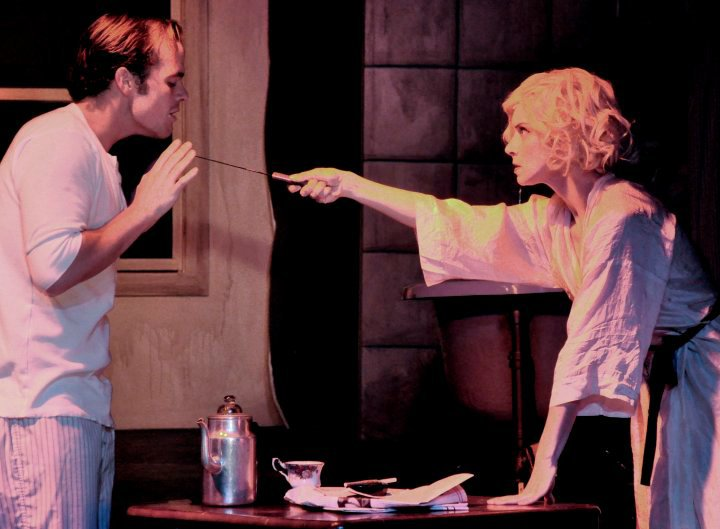 """Queenie and Burrs (Mathew Baker) in """"The Wild Party"""" (Pint Size Tall Productions)"""