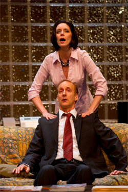"""Justine & Bill (Peter Anderson) in """"The Love List"""" (Vancouver Playhouse)  *Photo by David Cooper"""