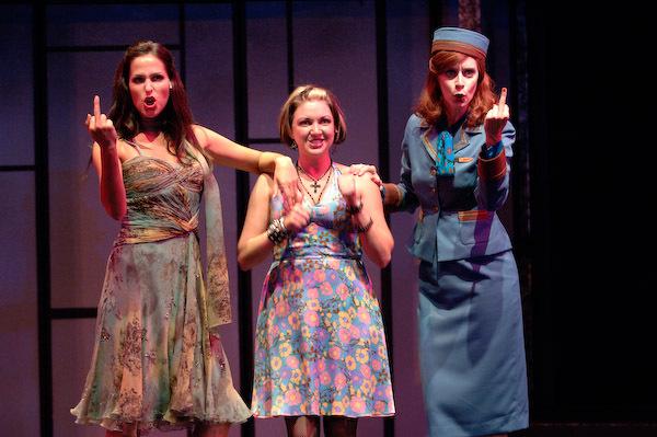 "April, Kathy (Debbie Timuss) & Marta (Alison MacDonald) in ""Company"" (Arts Club Theatre)  *Photo by David Cooper"