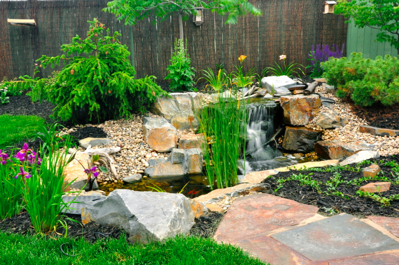 Our water feature in Edmonton. Total back yard space was 35'x35'