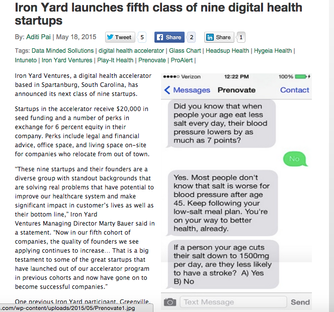 http://mobihealthnews.com/43591/iron-yard-launches-fifth-class-of-nine-digital-health-startups/  EXCERPTFROM MOBIHEALTH ,BY ADITI PAI