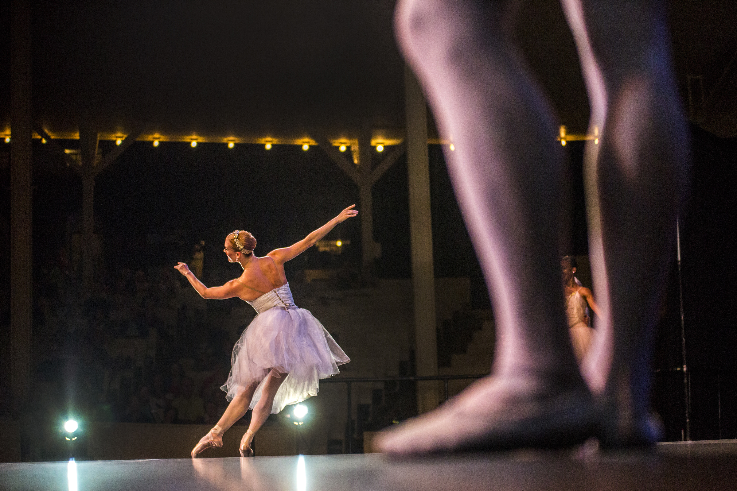 Sarah Hayes Harkins performs in the piece Danses Brillantes with the Charlotte Ballet accompanied by the Chautauqua Symphony Orchestra at the Amphitheater on July 15, 2015.