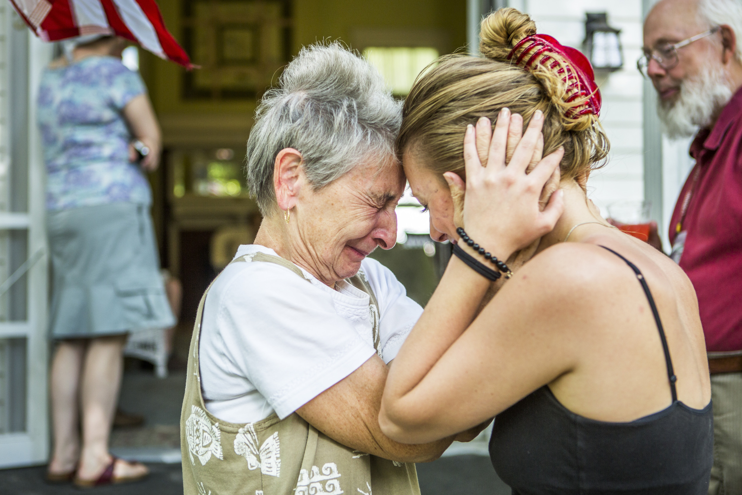 Pat tearfully says goodbye to Alex Paul on the porch of the Baptist House. Pat and Bud allowed Paul to stay for free throughout out the summer so she could be a member of the choir and covered the cost of her room out of their own pocket.