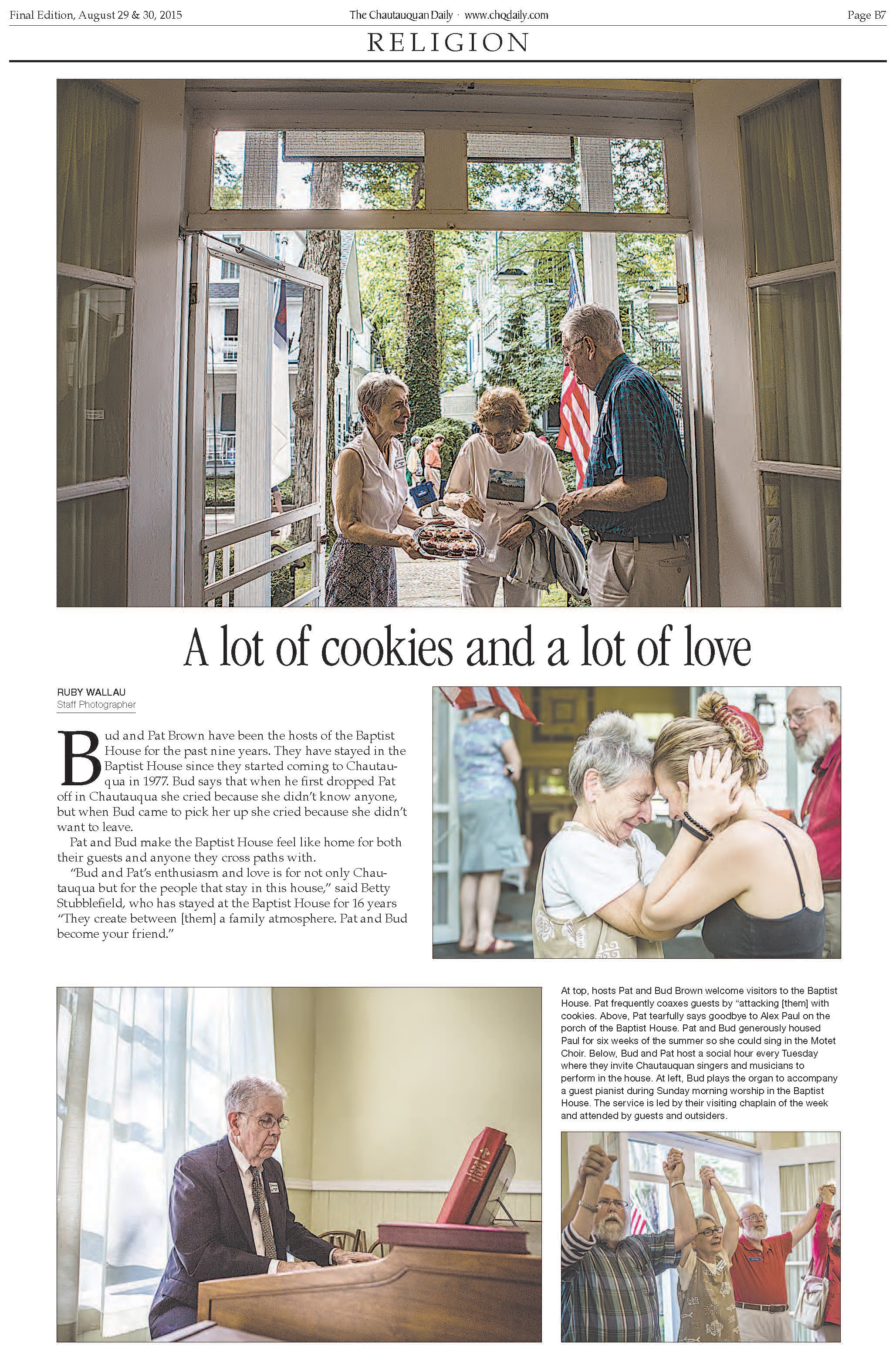 "The Chautauquan Daily: Photo editing, page design and photography for ""A lot of cookies and a lot of love""    Click here for article"