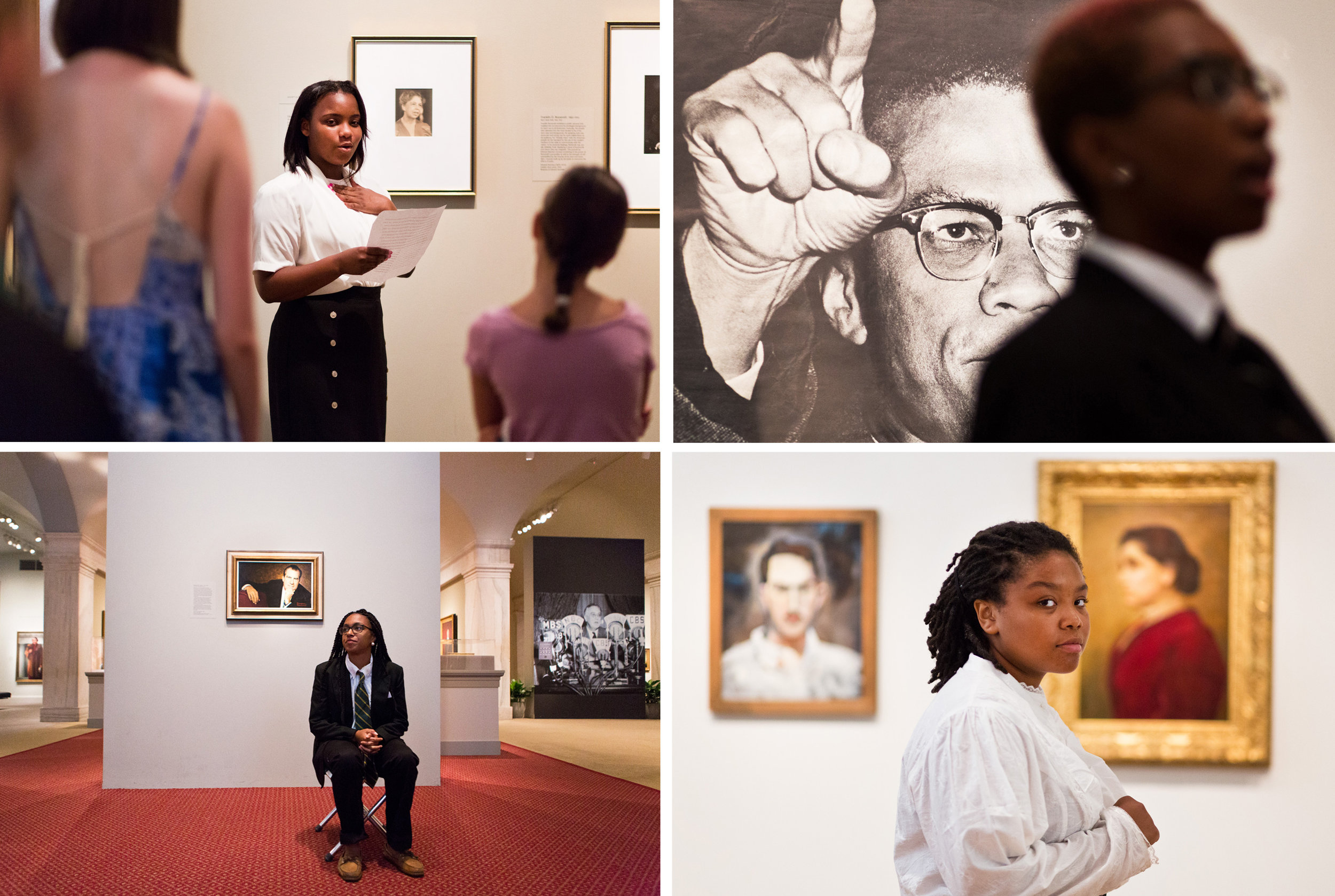 The students perform their monologues in front of the portraits and photographs of their chosen historical figure.