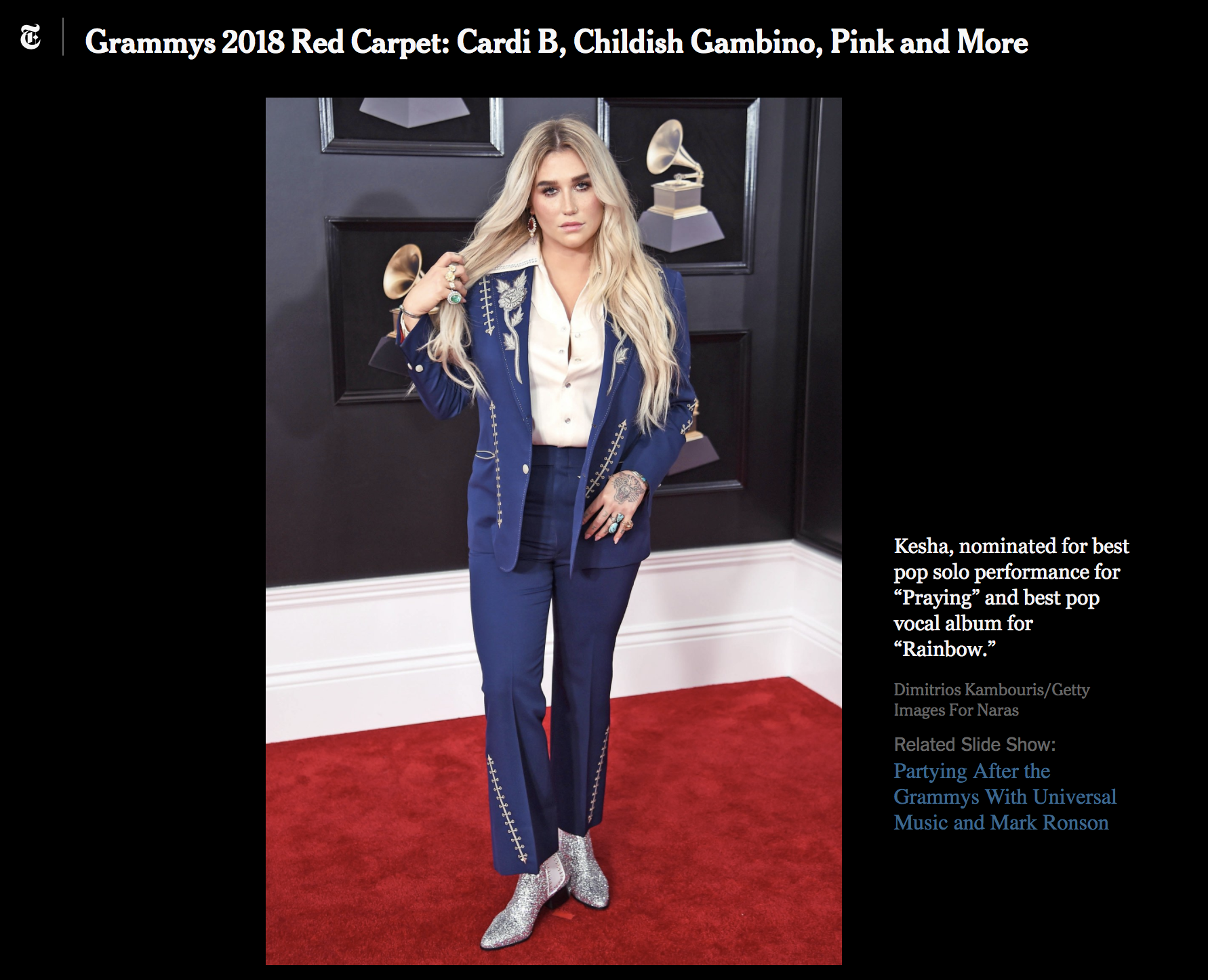 Getty Images: On-site edited for photographer Dimitrios Kambouris during the 2018 Grammy Awards.   Click here for gallery