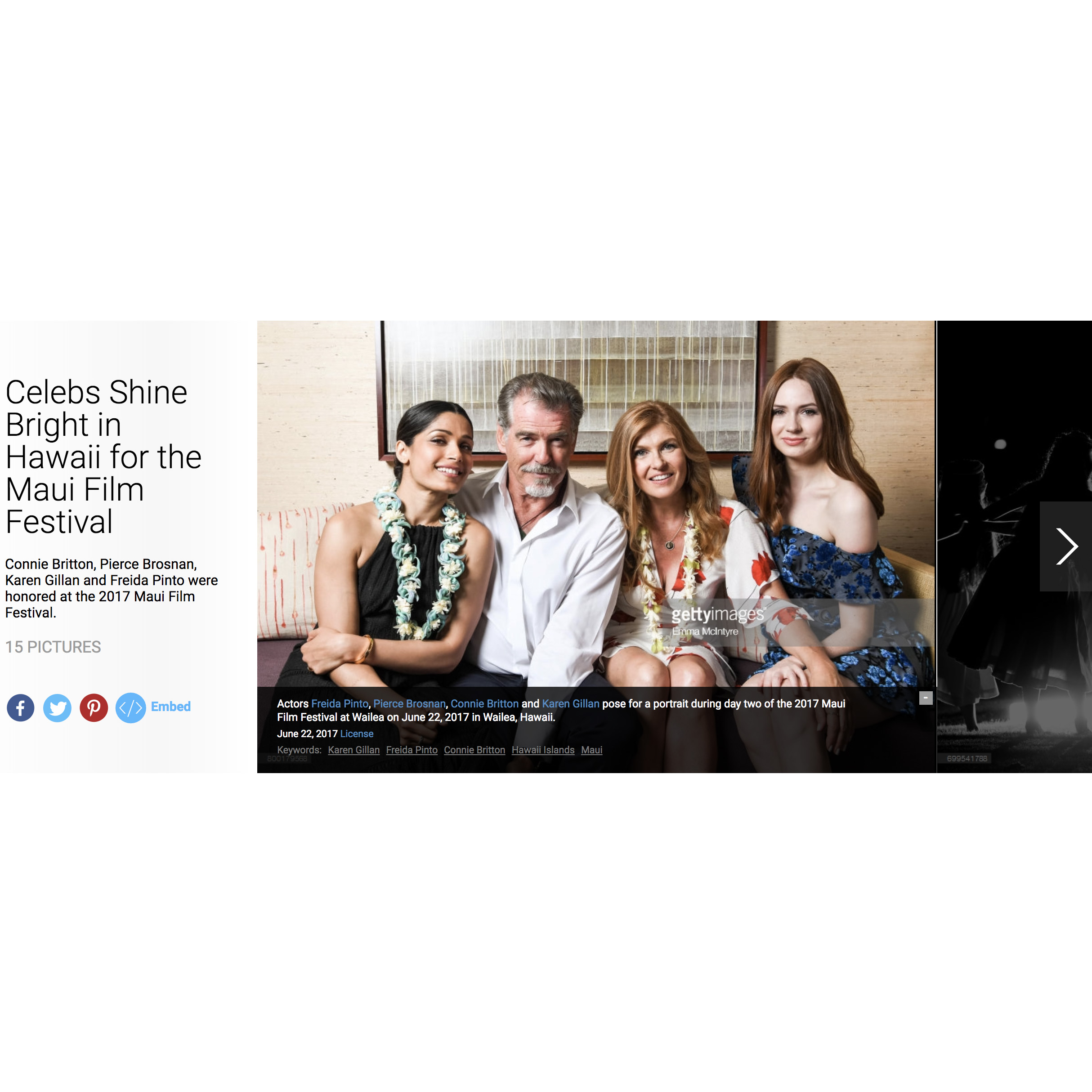 Getty Images : Selected as the solo on-site editor for Getty's coverage of the 2017 Maui Film Festival.   Click here for gallery