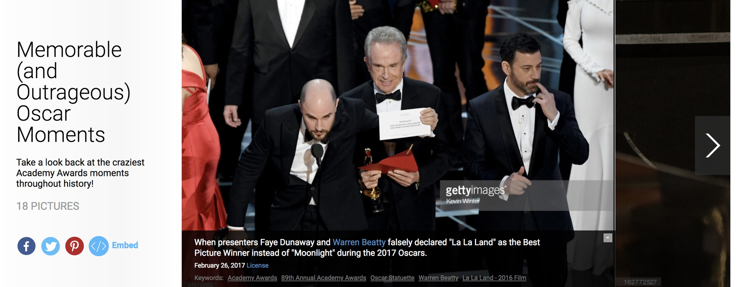 "Getty Images: Created nightly topical sets such as ""Memorable (and Outrageous) Oscar Moments"".   Click here for gallery"