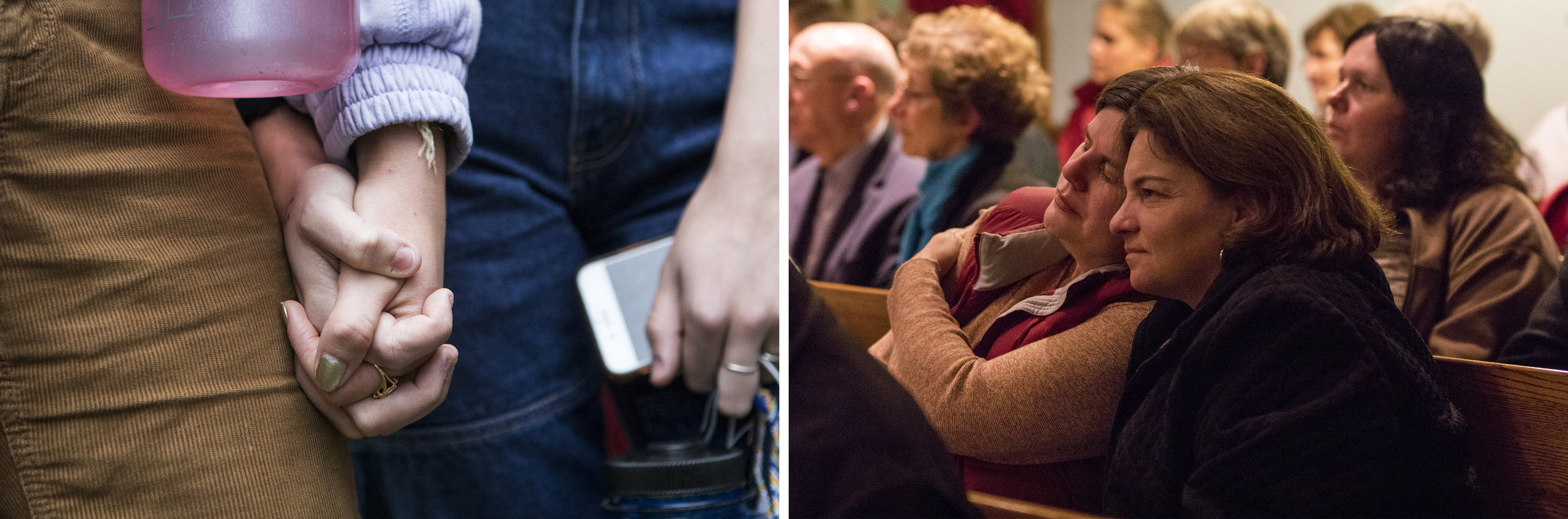 (Left) Senior Isa Dray and junior Lucia Kolk hold hands during a walkout to protest Brett Kavanaugh's confirmation to the Supreme Court at Arlington High School. (Right) Camille Bernstein, left, and Heather Martin, both of Franklin, share a moment during the Service of Comfort, Consolation, and Solidarity hosted by the Franklin Interfaith Council at St. John's Episcopal Church.