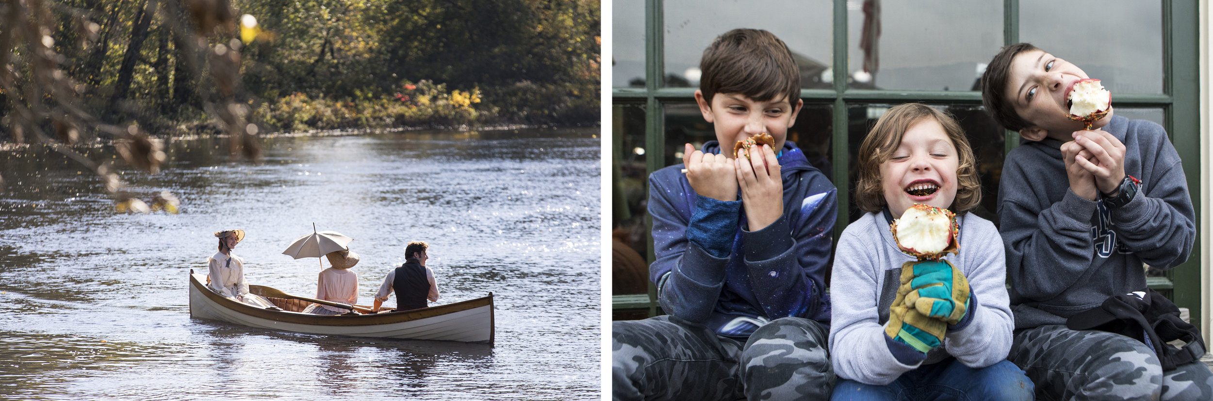 "(Left) Stand-in actors row past the the Old Manse Boat House along the Concord River during filming of ""Little Women"" at the Minute Man National Historical Park. (Right) (L-R) Truman Faroni, 9, Lennon Faroni, 5, and Alden Faroni, 11, all of Belmont, enjoy their caramel apples at Wilson Farm in Lexington."