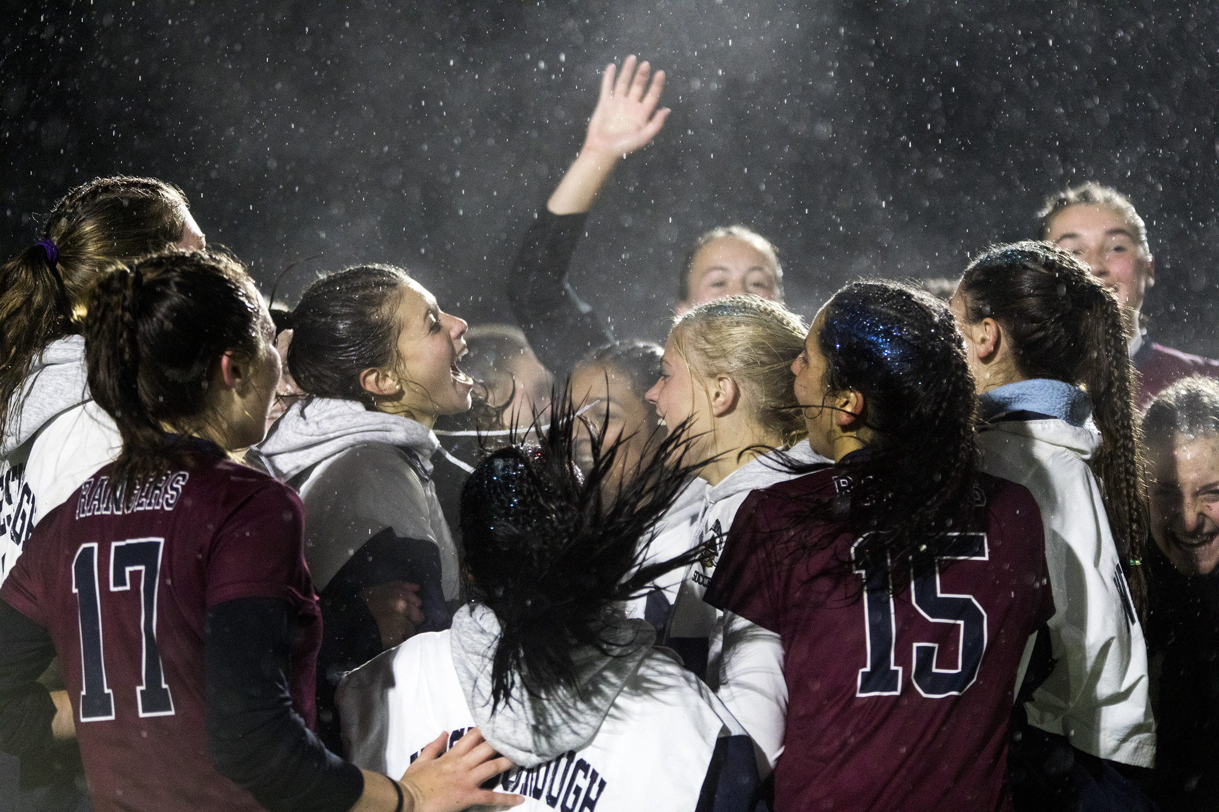 Westborough players celebrate winning in overtime, , 2-1, during the Division 1 Central quarterfinal game against Algonqin in Westborough on Nov. 5, 2018.