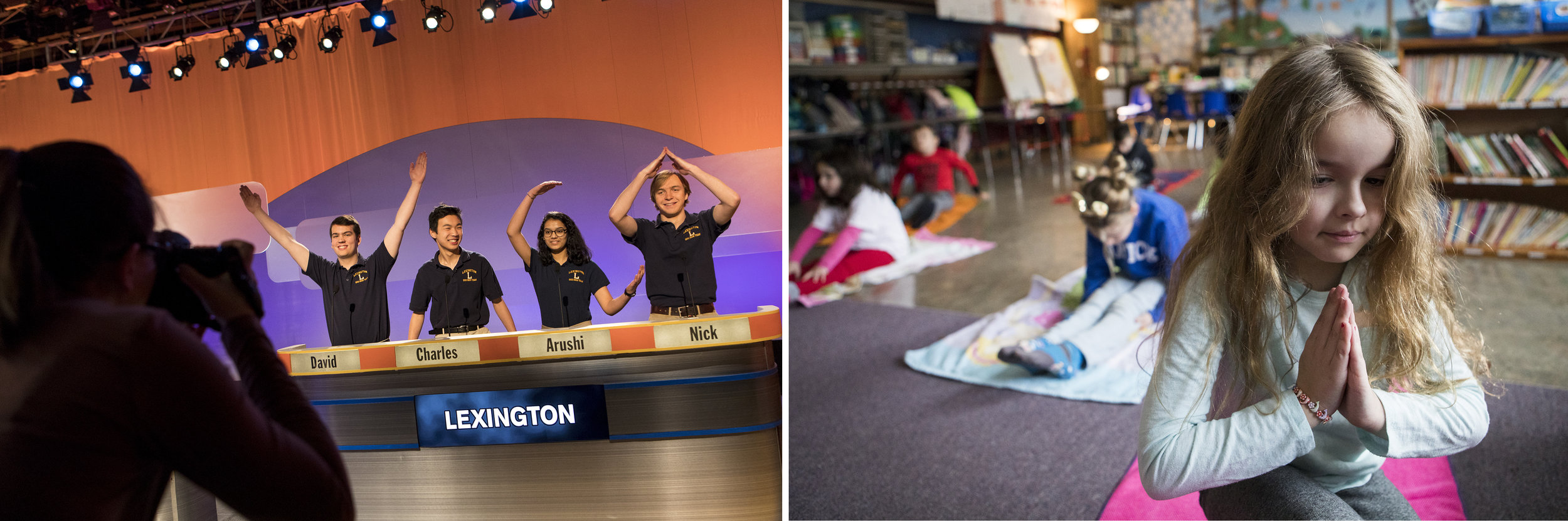 (Left) Lexington senior David Arena, juniors Charles Yang and Arushi Kalpande and senior Nick Rommel pose for a promotional photo before competing on an episode of High School Quiz Show against Boston Latin School at WGBH studios in Boston on January 19, 2019. (Right) Third grade student Lily Audran practices yoga during the annual Genius Day at Johnson Elementary School in Natick on Jan. 09, 2019.