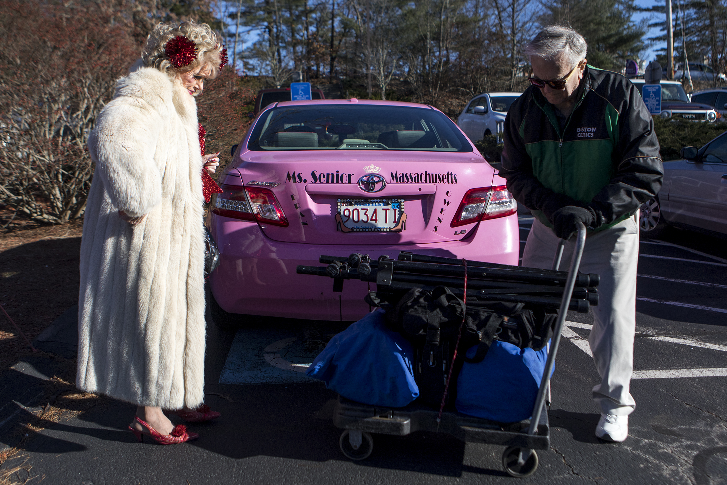 Fran Owens watches as her husband Jim Haupt loads her equipment into her car after performing at Mary Ann Morse Healthcare Center in Natick on Dec. 7, 2018. Although Owens has been married 12 times, she refers to Haupt as her first real marriage after she became mentally well.
