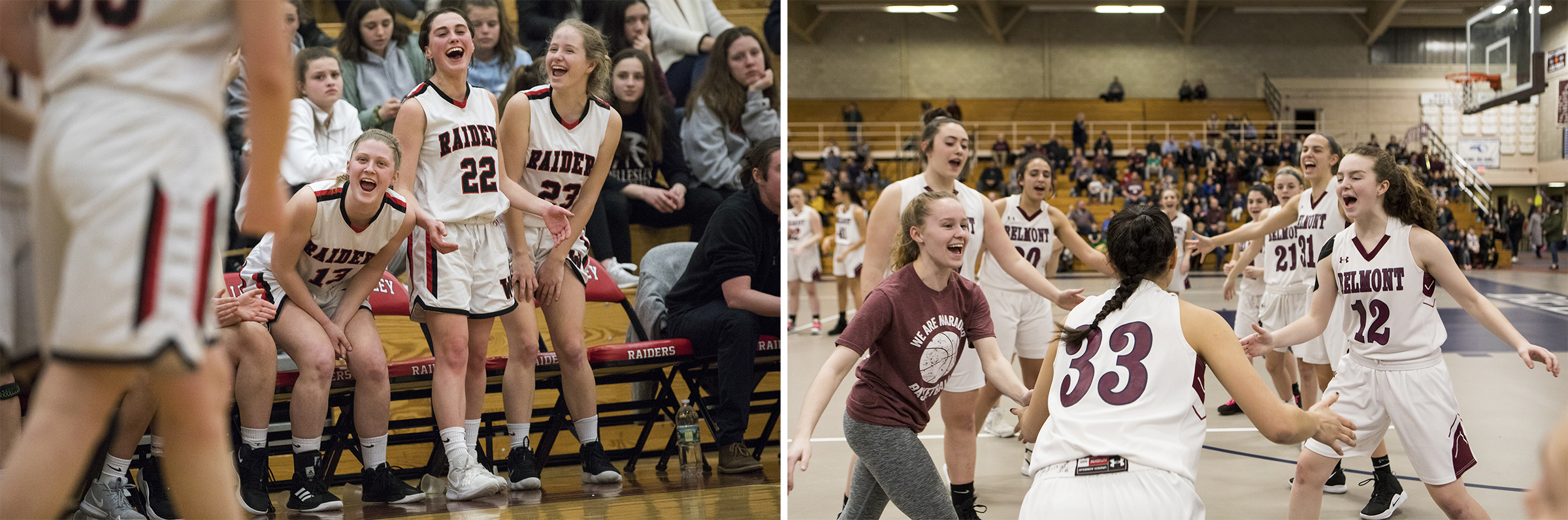 (Left) (L-R) Wellesley senior Isabella Kogon and juniors Anna Glashow and Caroline Harding react to Wellesley stealing the ball from Walpole during the game in Wellesley on Feb. 25, 2019. (Right) Belmont players cheer for senior Megan Tan during the starting lineup announcement before the game against Reading in Belmont on Feb. 8, 2019.