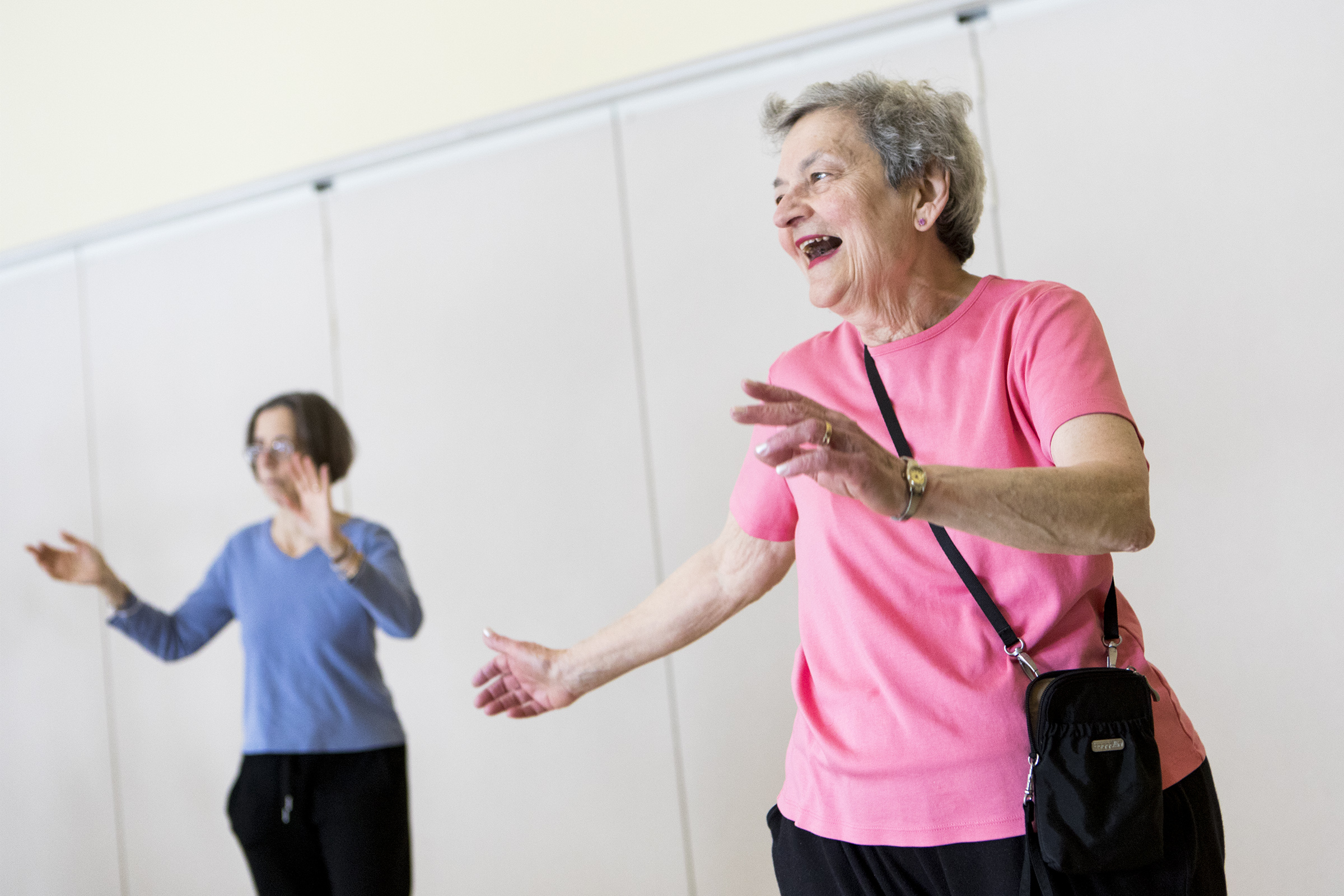 Liz Keegan, of Belmont, right, dances during the Council on Aging's Zumba class at Beech Street Center in Belmont on Feb. 21, 2019.