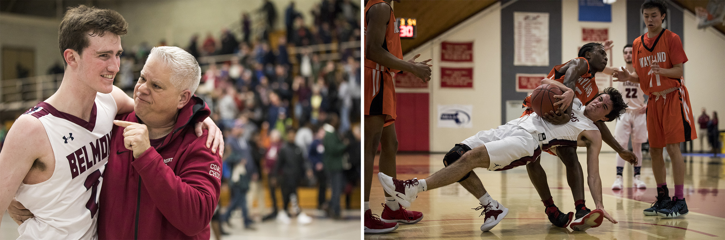 (Left) Belmont High senior captain Jake Herlihy, left, celebrates with Chuck Mantsavinos after winning the game against Arlington in Belmont on Mar. 1, 2019. (Right) Westborough senior Quinn Donovan is fouled by Wayland junior Jaden Brewington during the game at the Kneller Center in Worcester on Mar. 4, 2019.