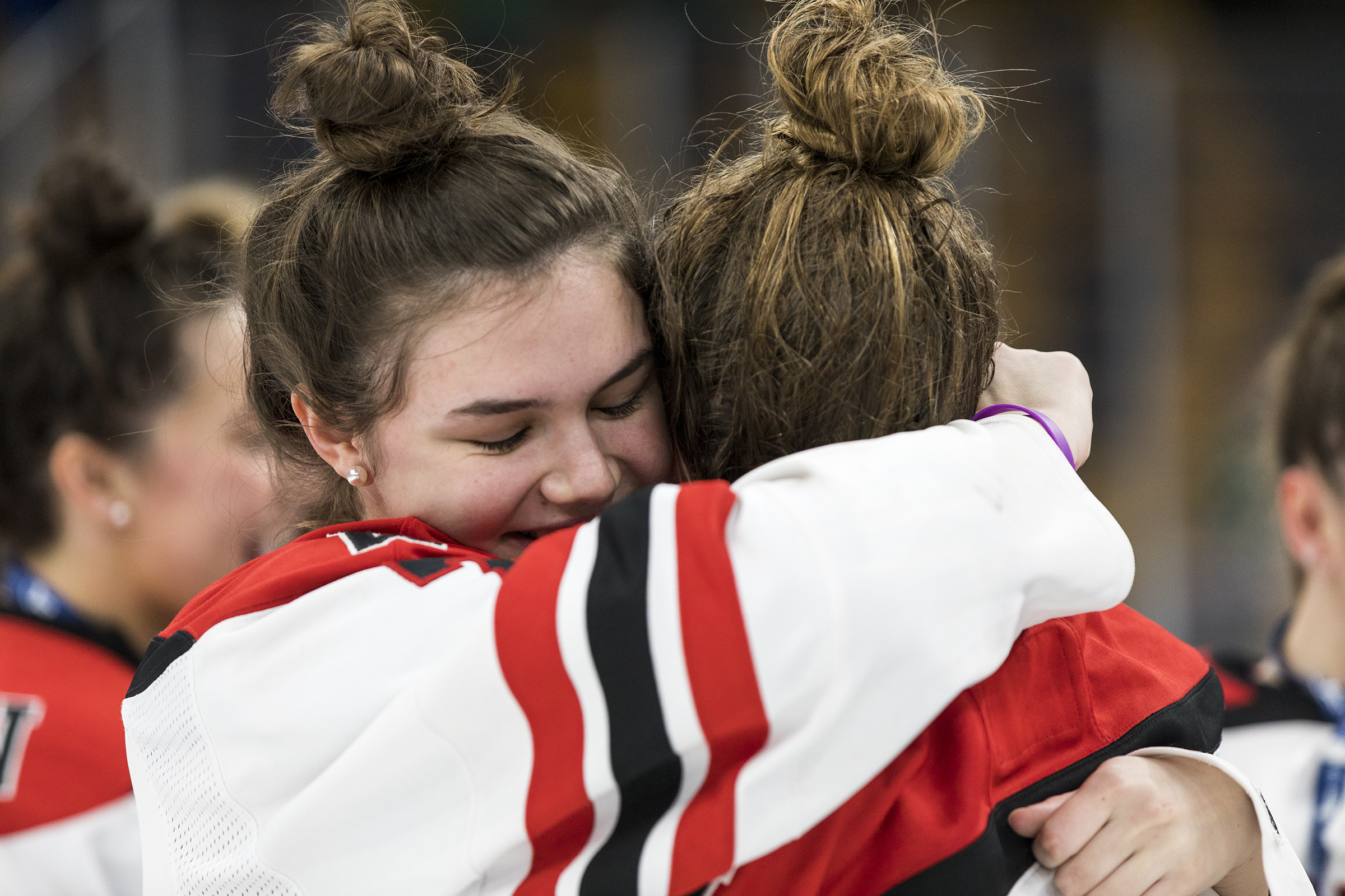 Wellesley players celebrate after winning the game against Notre Dame at TD Garden on Mar. 17, 2019. [Daily News and Wicked Local Staff Photo/Ruby Wallau]