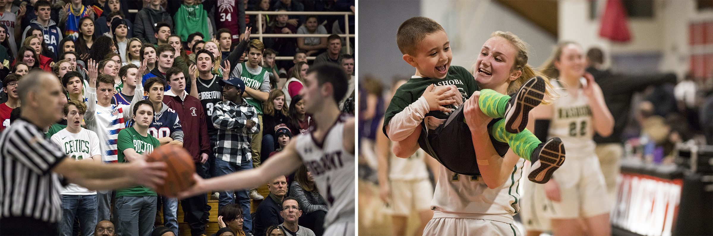(Left) Arlington fans react after the ball is turned over to Belmont during the game in Belmont on Mar. 1, 2019. (Right) Nashoba senior Julia Roth lifts her coach's son Patrick Seabury, 4, in celebration after winning the game against Saint Peter-Marian at the Kneller Center in Worcester on Mar. 4, 2019.