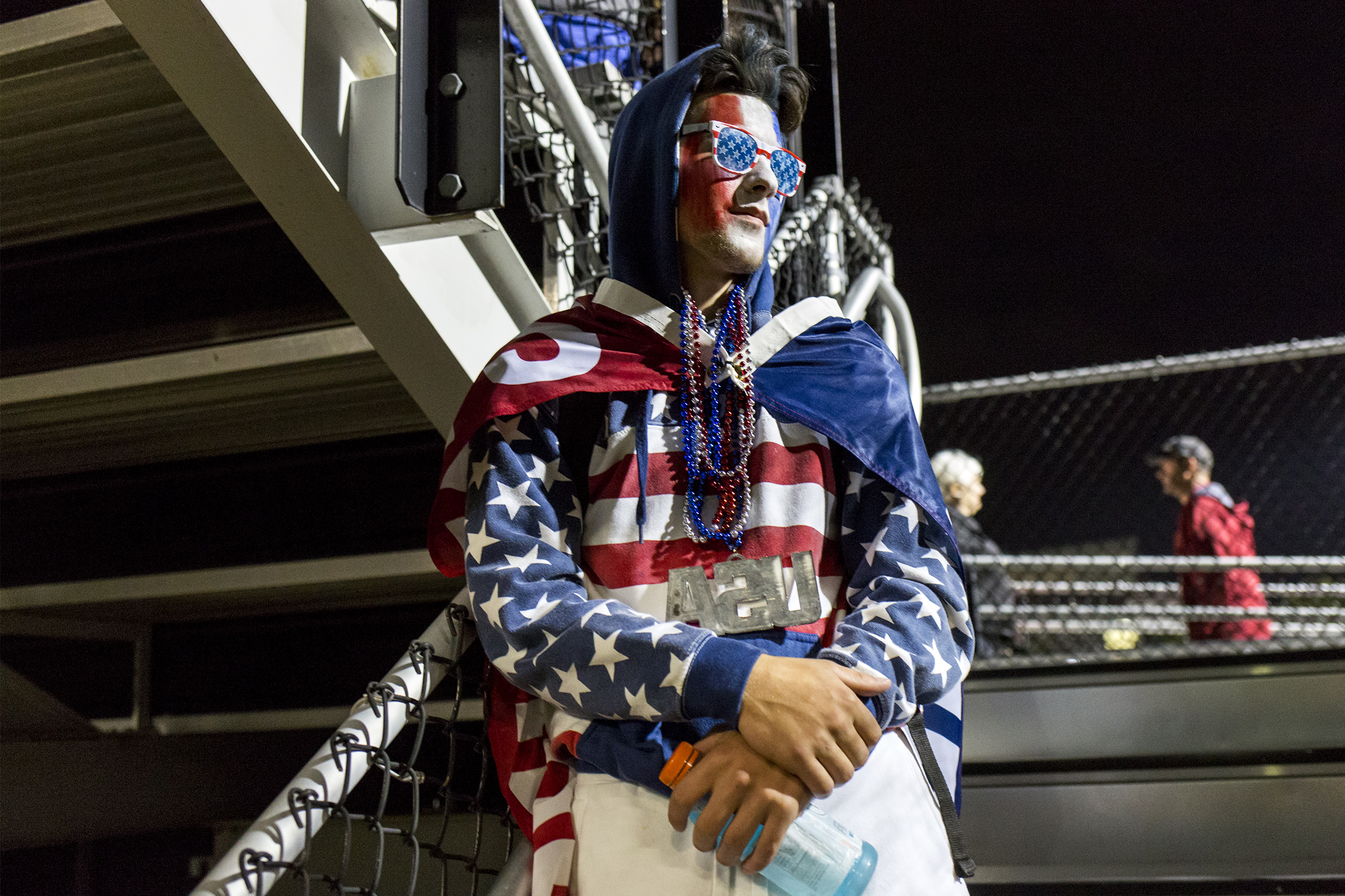 Woburn Memorial High junior Cam Goneau poses for a portrait in his USA themed outfit during the game against Belmont High at Connolly Stadium in Woburn on Sept. 21, 2018.