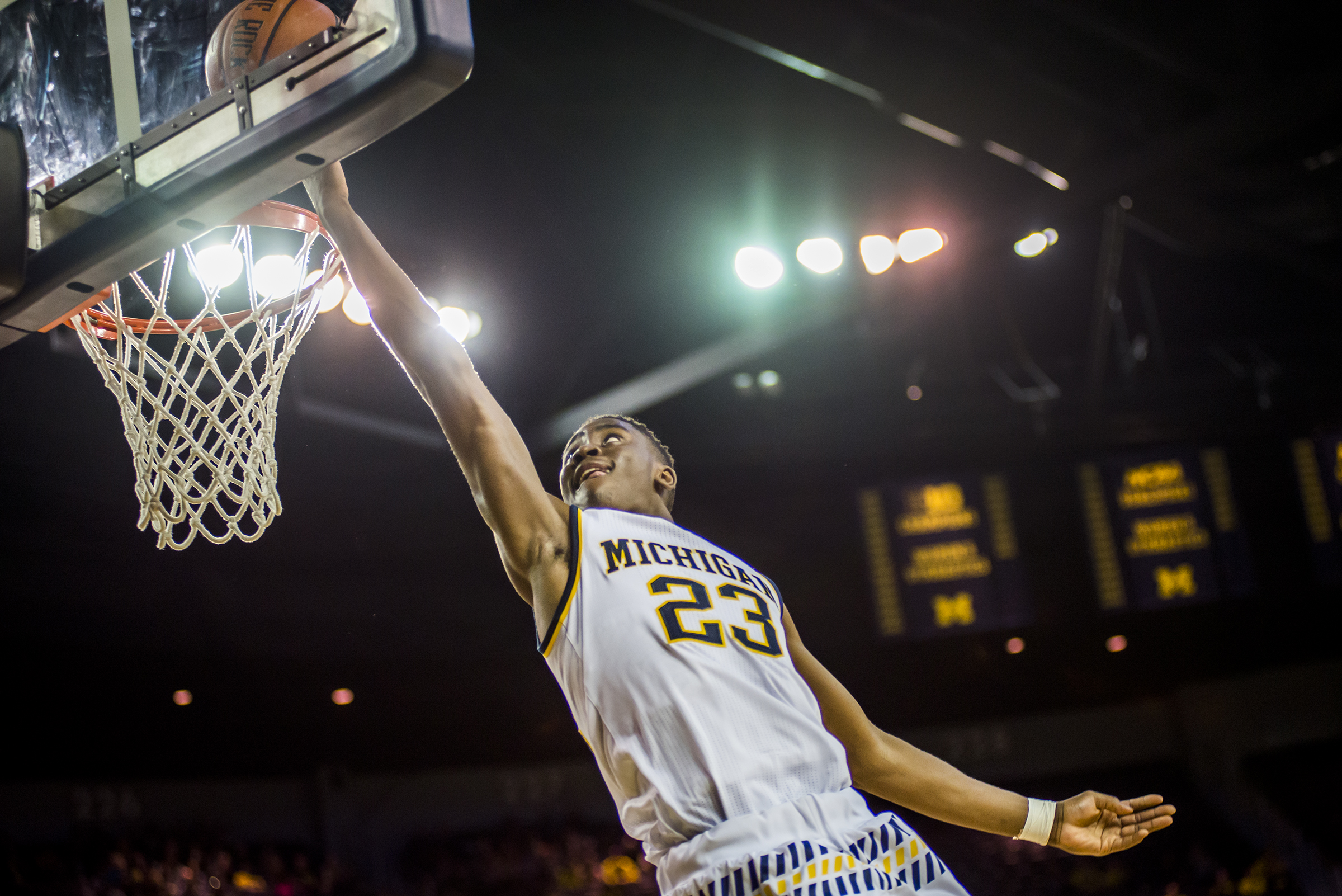 Senior Caris LeVert goes up for a basket during Michigan's 82-57 defeat of Houston Baptist at Crisler Center on December 5, 2015.