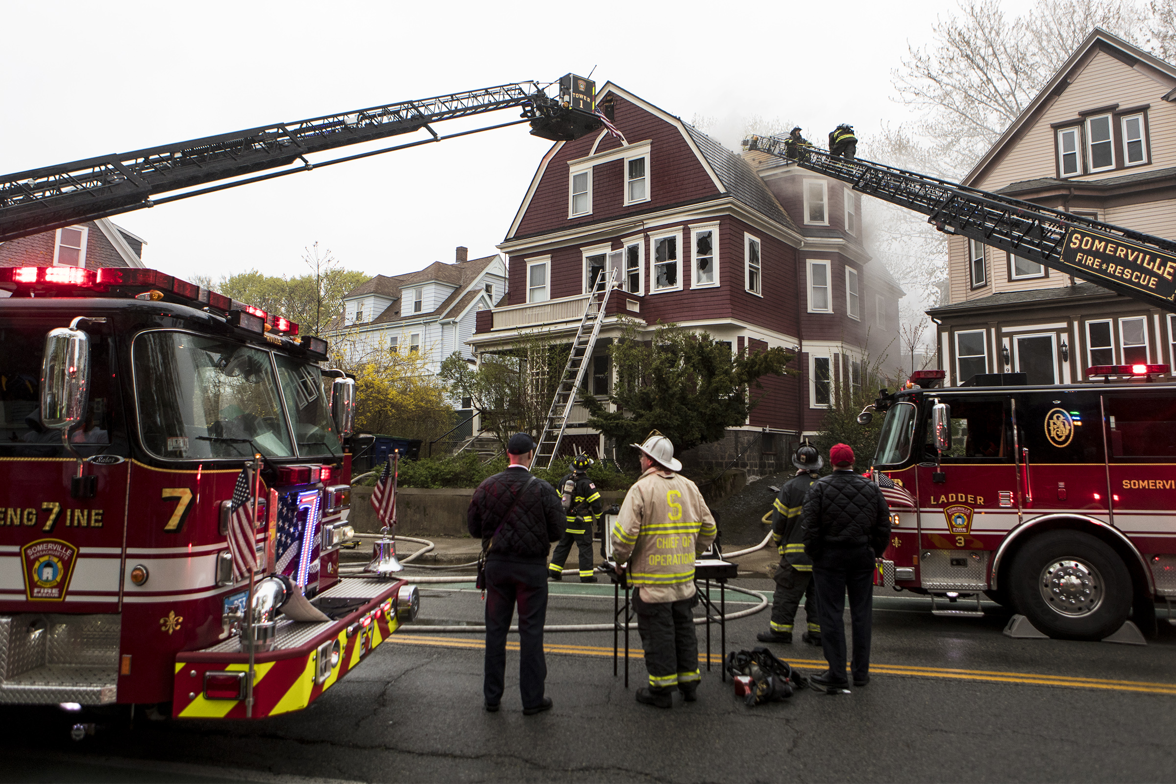 Somerville and Cambridge firefighters respond to a two-alarm fire at at 916 Broadway on April 26, 2019.