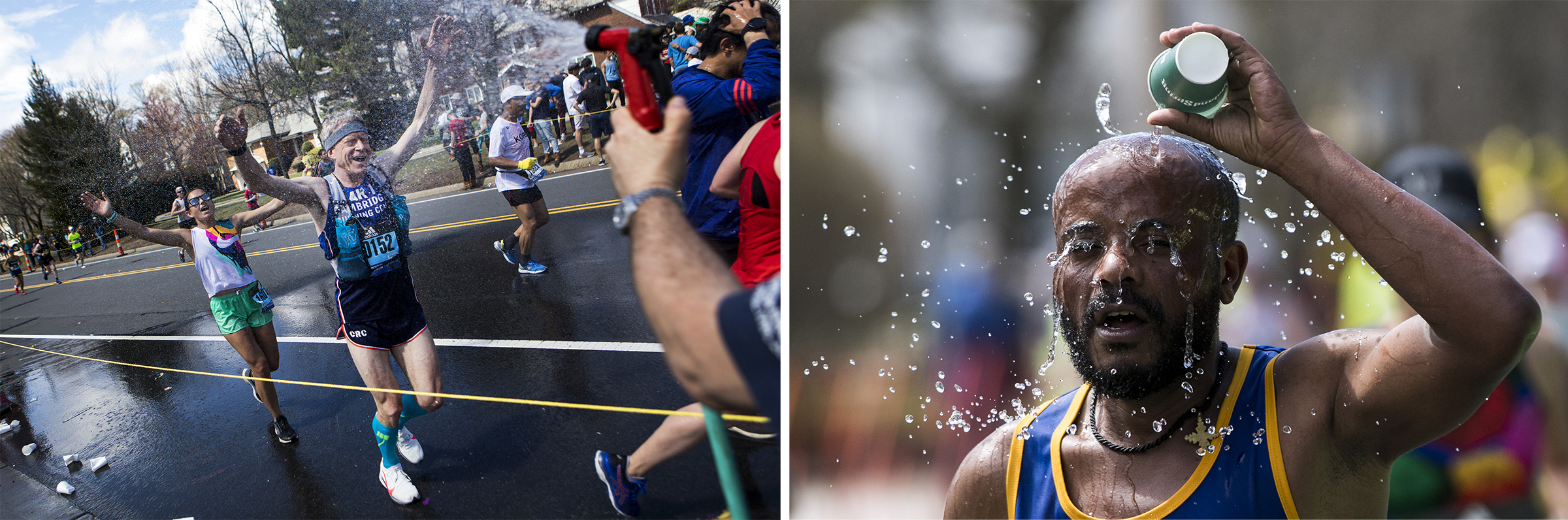 Runners cool off while making their way up Heartbreak Hill during the 2019 Boston Marathon along Commonwealth Avenue in Newton on April 15, 2019.