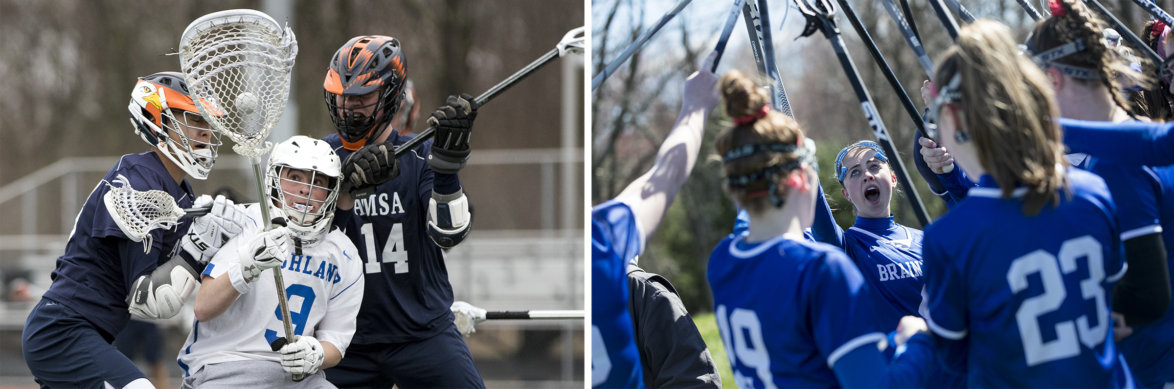 (Left) Ashland's goalie Marcus Millard, center, fights for control of the ball against against Advanced Math & Science Academy's Nathan Li, left, and Evan Hardy, right, during the game  on April 8, 2019. (Right) Braintree captain Ava Morrissey, center, rallies with her teammates before the game against Lexington on April 16, 2019.