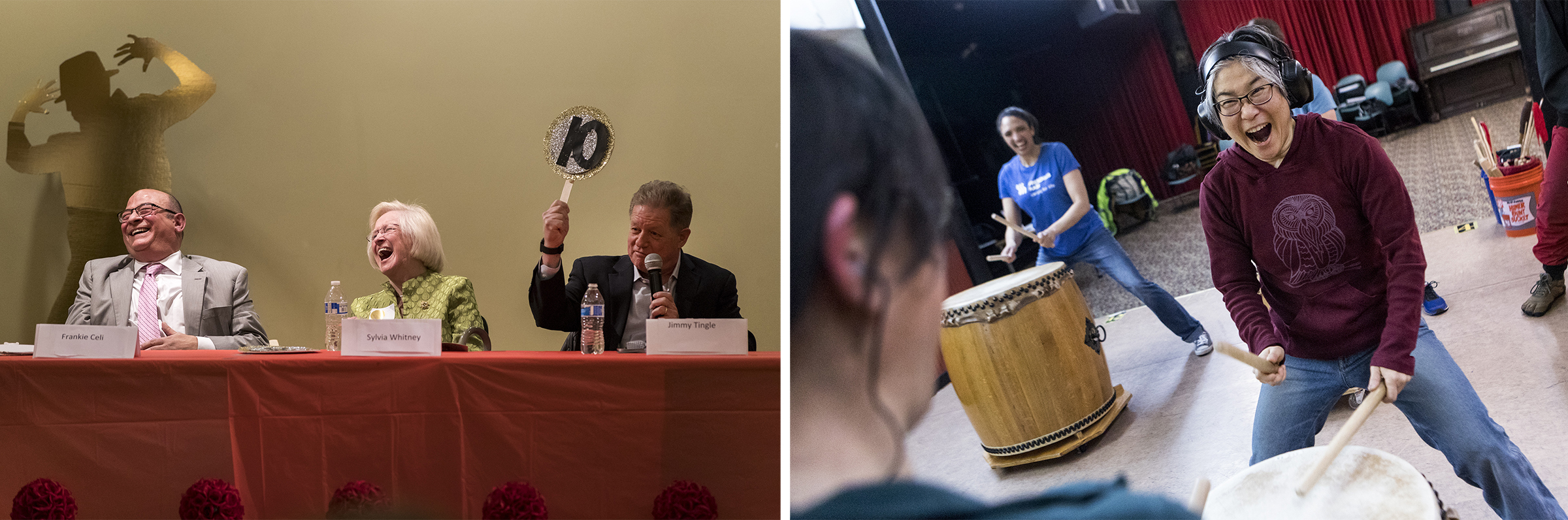 (Left) Judges Frankie Celi and Sylvia Whitney laugh as comedian Jimmy Tingle reveals his scorecard during Dancing with the Belmont Stars at the Beech Street Center in Belmont on April 5, 2019. (Right) Juni Kobayashi, director of Odaiko New England, drums with a student during the Taiko drumming class taught at the Regent Underground in Arlington on April 1, 2019.