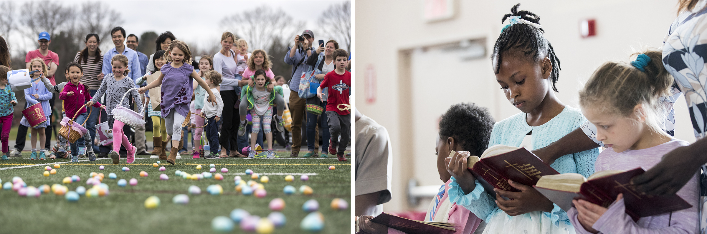 (Left) Emerson Santoro, 6, of Concord, center, leads the charge to find eggs during the 3rd annual Easter Egg Hunt at Memorial Field on April 19, 2019. (Right) Khadijah Fitten, 10, of Framingham, reads the Bible during the Easter Community Celebration at the Greater Framingham Community Church on April 21, 2019.