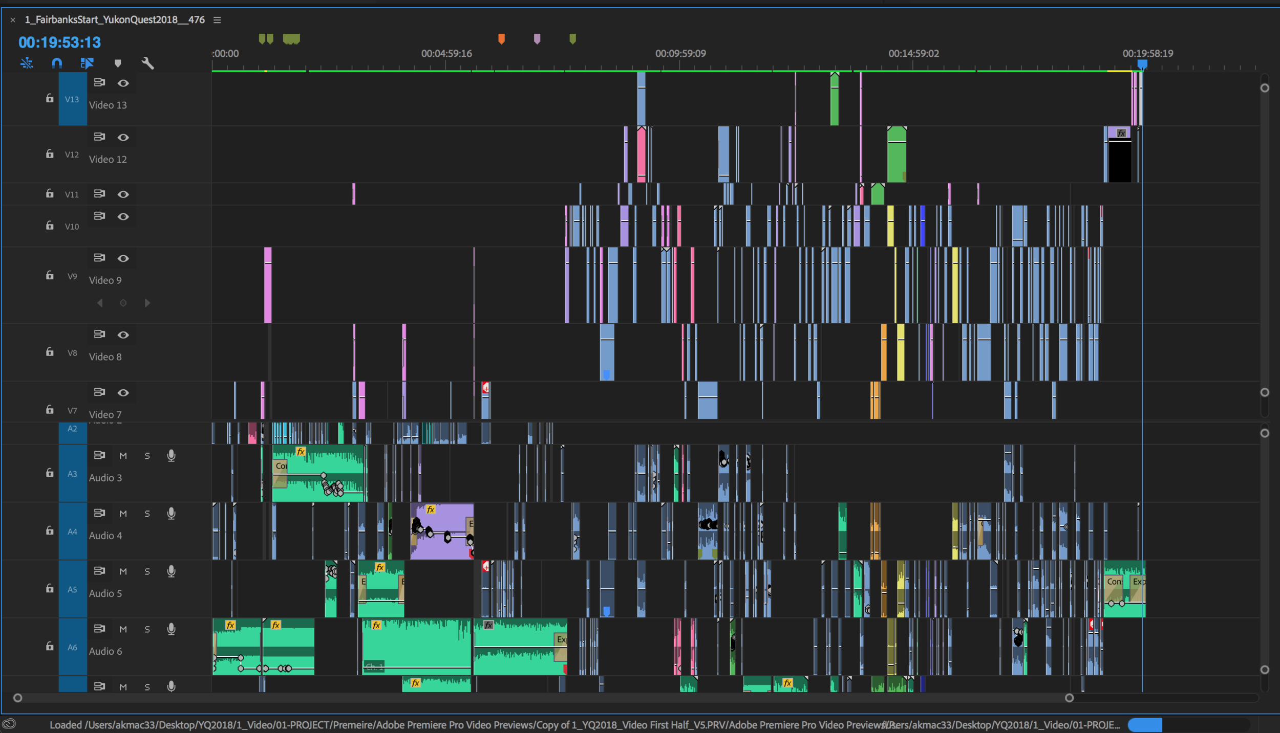 Premiere Timeline - This a partial screen shot of the video timeline. The two stays in hotel rooms with tv's made great for on the go editing stations. I would have hated to edit and compile the layers for the video on just a small 15 inch screen.