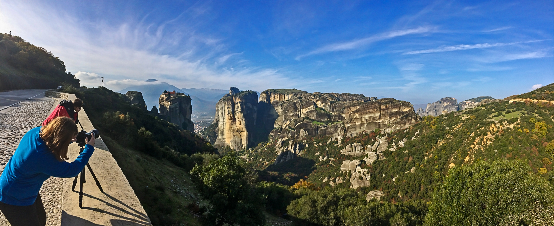Another panoramic taken this time on my own iPhone.. Tam & Ciaran photographing one of the monasteries of the Meteora perched seemingly impossibly on a dolomite.. during our Landscape Photography workshop to Meteora and Pindos mountains in Greece, 2016;