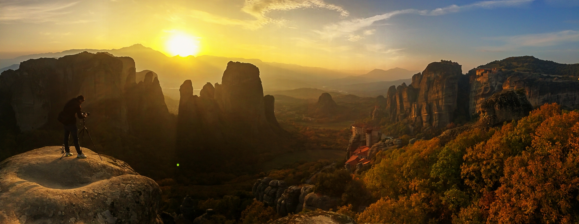 Photographing sunset over the Meteora monasteries during our Landscape Photography Workshop to Meteora and the Pindos Mountains in Greece, 2016;