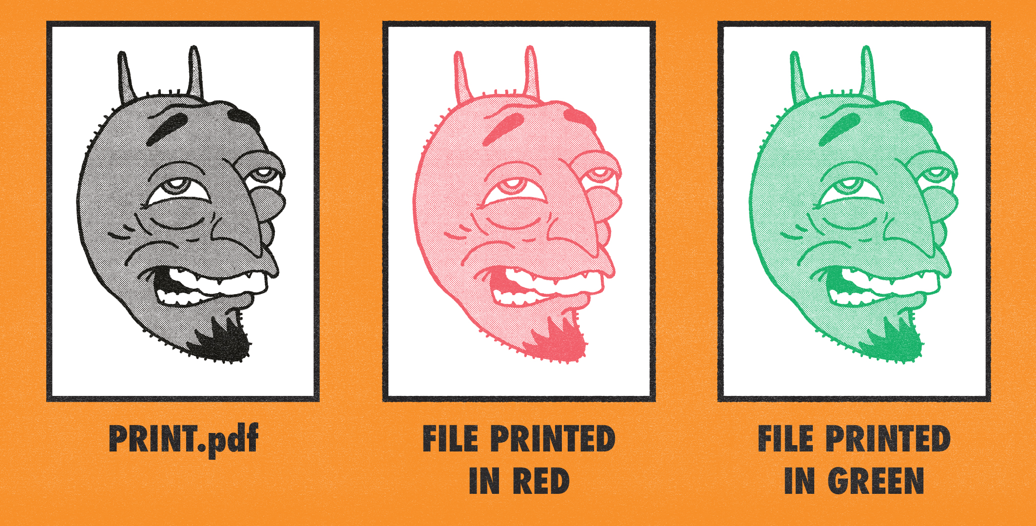 Above:  Greyscale PDF (left), Result when the PDF is printed in red (middle), Result when the PDF is printed in Green (right).