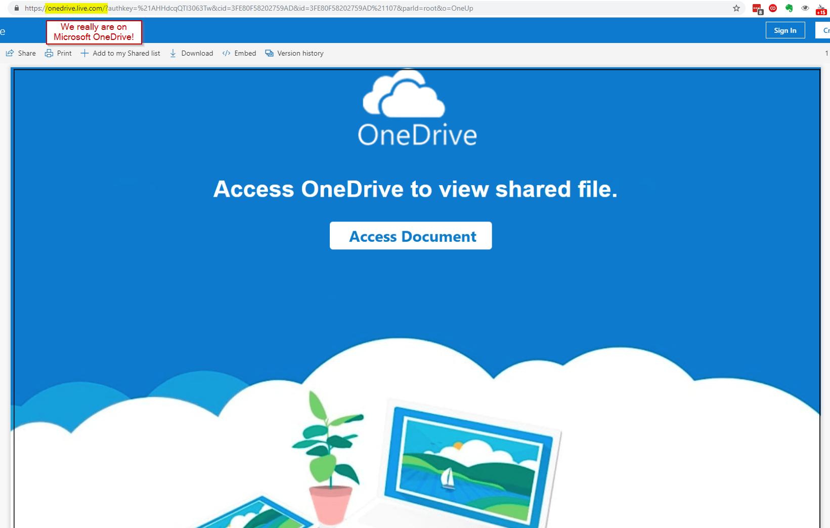 OneDrive Phishing Scam Details