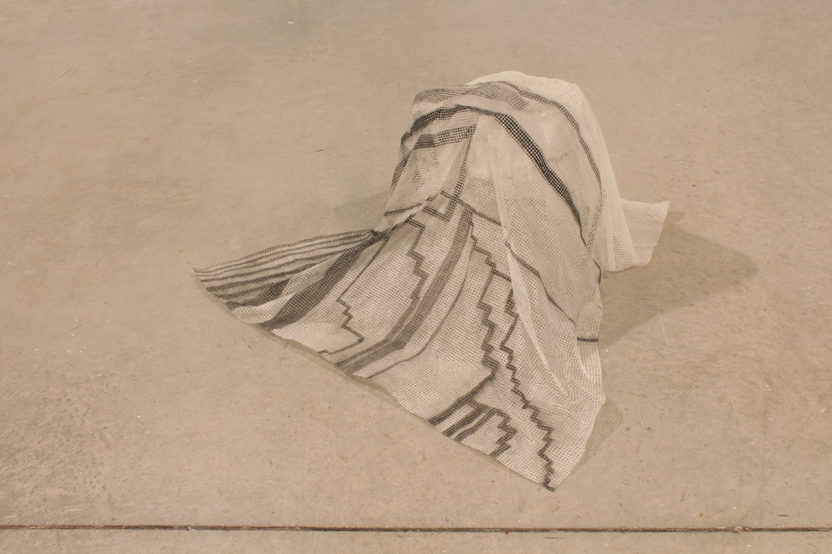 """Untitled (floater) , 2012, grid tissue, charcoal, glue, H 15"""" x W 30"""" x D 30"""""""
