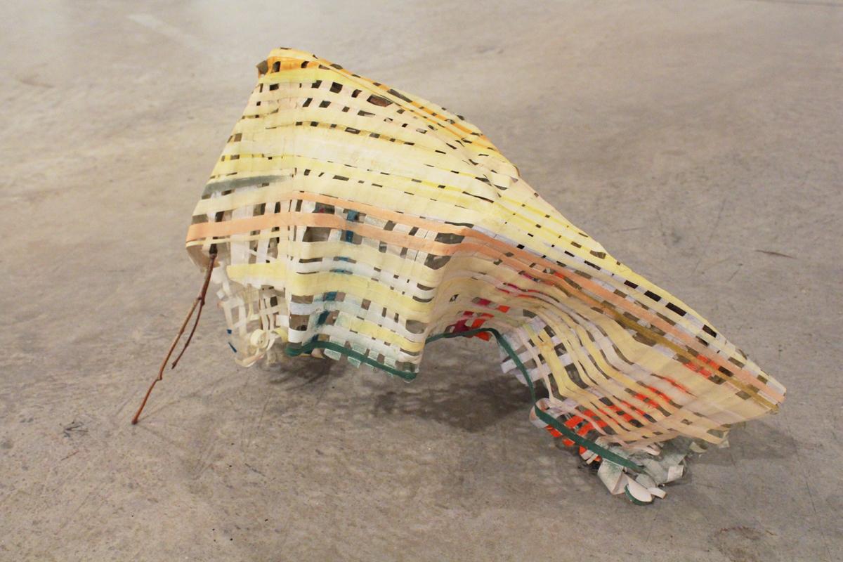 """Invisible Firewood , 2012, chalk pastel, paper, twig, glue, L 23"""" x W 8"""" x H 13"""""""
