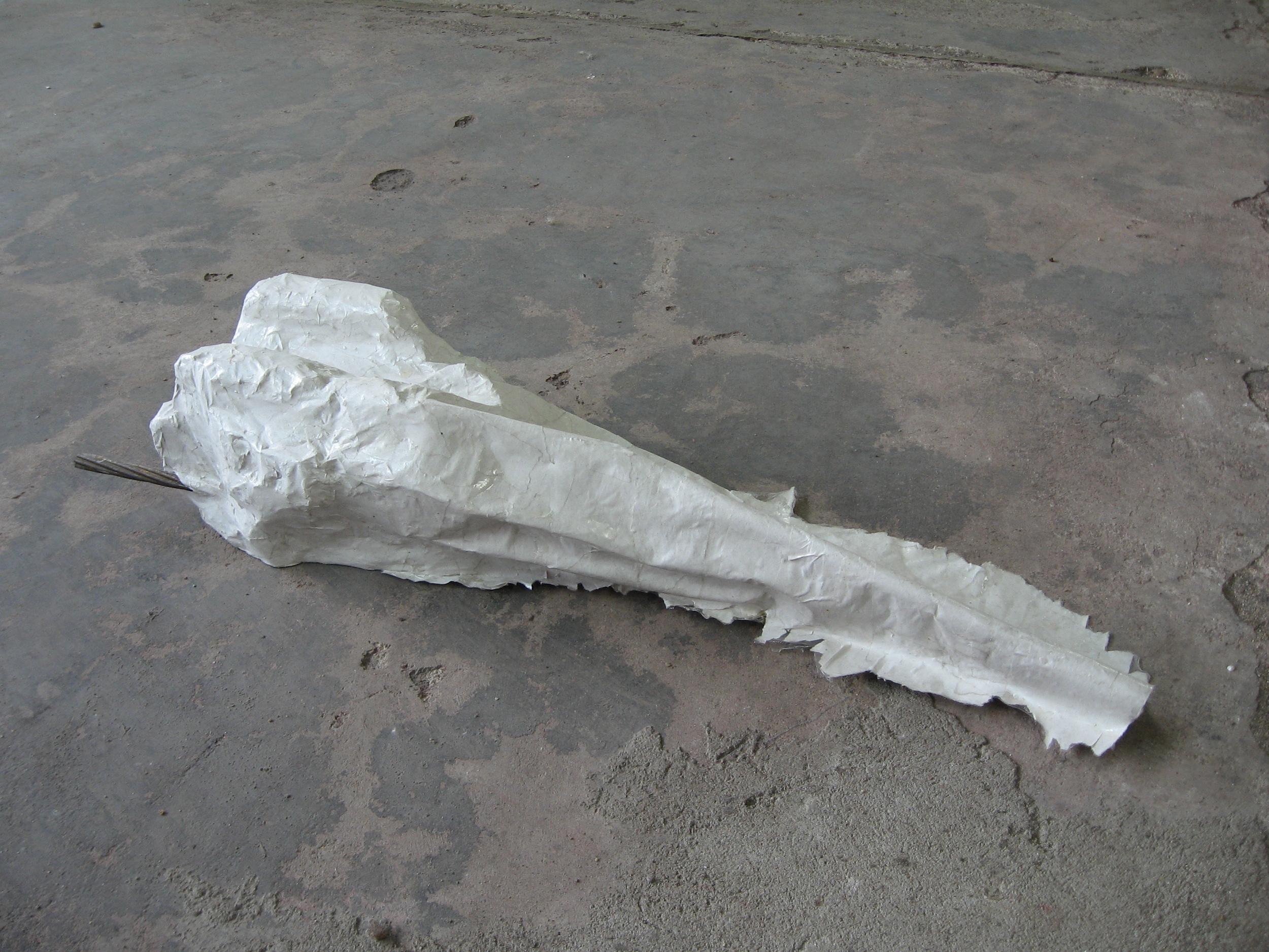 "Extended Cinder Block , 2010, cinder block, rebar,papier-mâché,L 18"" x W 8"" x H 4"""
