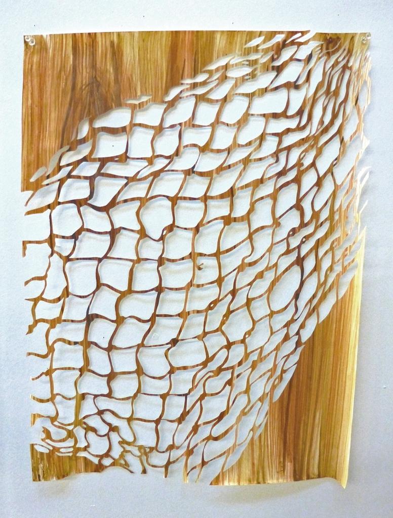 "Untitled (Net 1) , 2013, acrylic on hand-cut paper, L 24"" x W 18"""