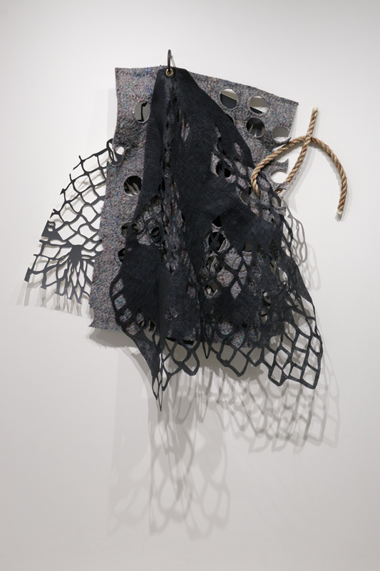 """Gaps Full of Potential #2 , 2014,hand-cut faux leather foam, fetl, rubber screen, rope,steel, 48"""" x 48"""" x 7"""" (photo: Ruth Skinner)"""