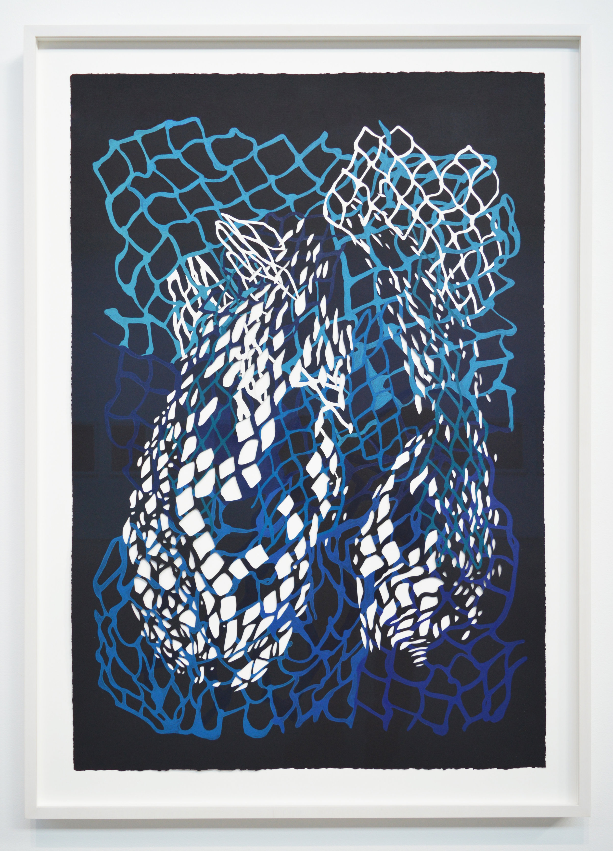 "Large Net Tangle #1 , 2016, acrylic and casein on hand-cut paper, 30"" x 44.5"". Photo: Aaron Guravich"