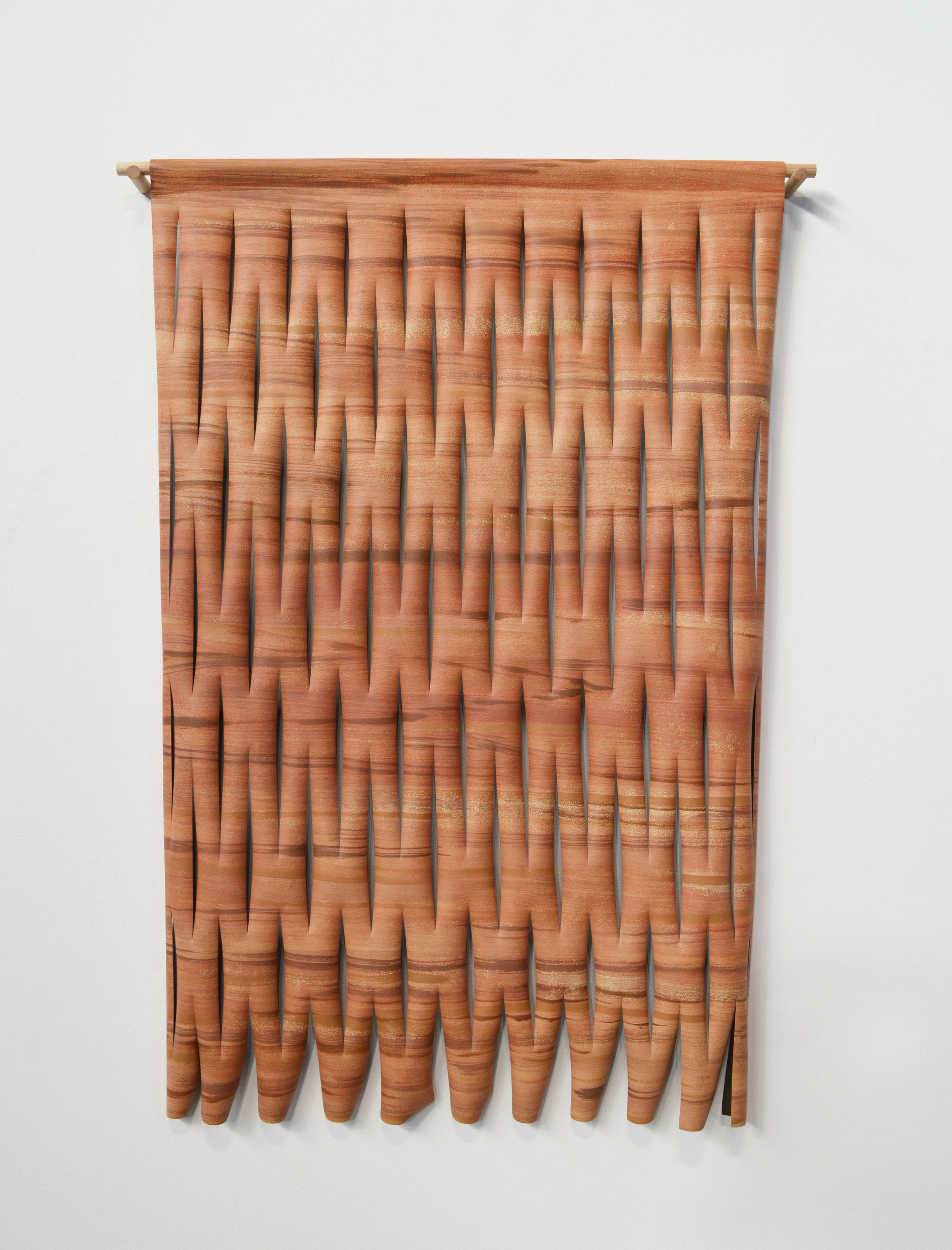 "Untitled, 2016, acrylic on sliced faux leather vinyl, wood dowel, H52"" x W37.5"" x D2.5"". Photo: Aaron Guravich"