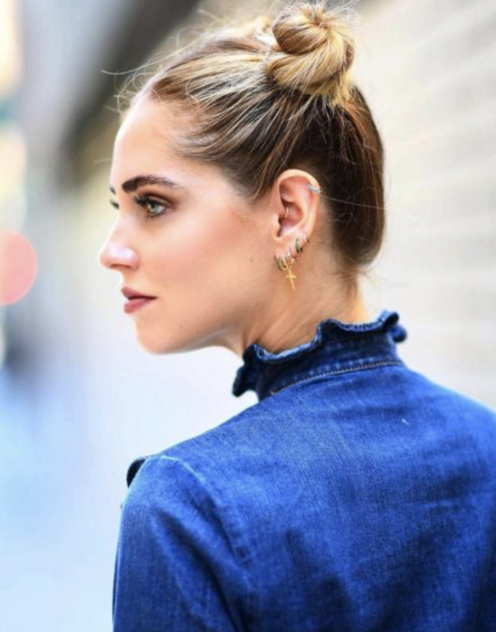 Chiara Ferragni, of The Blonde Salad, in Luv AJ Cross Hoops