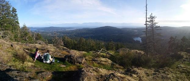 Hiking up Bluff mountain overlooking Sooke