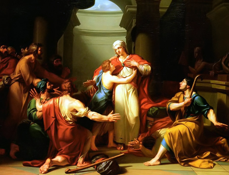 """Joseph Recognized by His Brothers  (1788) by Jean-Charles Tardieu, also called """"Tardieu-Cochin"""" (3 September 1765 – 3 April 1830)"""