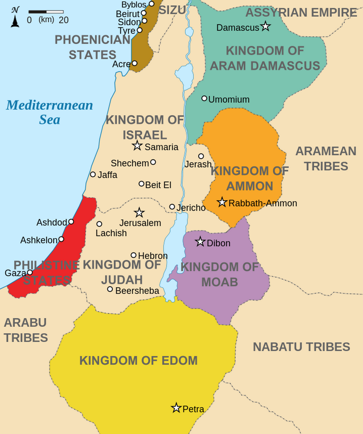 Kingdoms around Israel 830 map. Licensed under Creative Commons Attribution-Share Alike 3.0 via Wikimedia Commons.