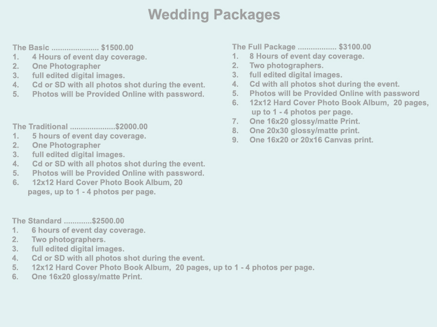 All Packages and prices can be customize and negotiated to clients need this is just an overview so you can Get an Idea.