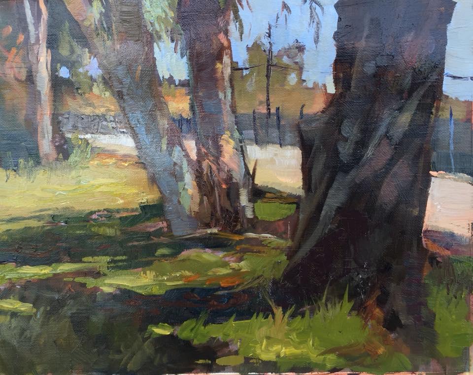 Eucalyptus Row 8x10 oil on linen framed $350.