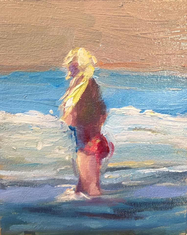 Girl on Beach 2, 4x5 oil on panel unframed $95.