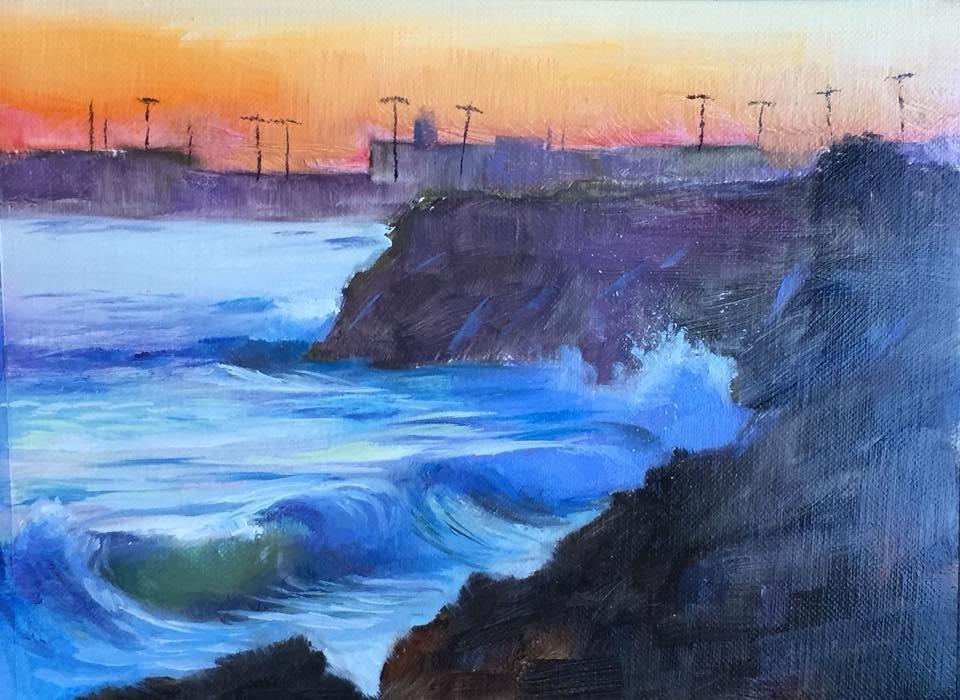 Night Waves 6x8 oil on linen framed $225.